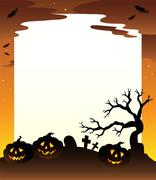 Frame with Halloween scenery  Stock Illustration