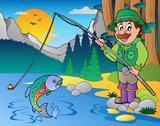 Lake with cartoon fisherman  Stock Illustration