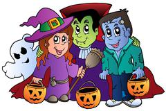 Halloween trick or treat characters - stock illustration