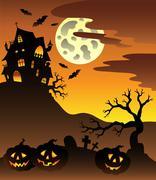 Scene with Halloween mansion  - stock illustration
