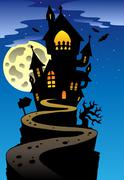 Scene with Halloween mansion  Stock Illustration