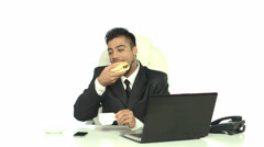 4K & HD resolutions - the indian businessman has lunch in the office Stock Footage