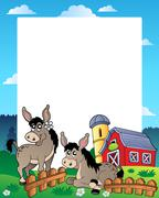 Country frame with red barn  Stock Illustration
