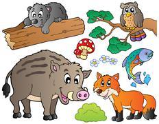 Forest sarjakuva eläinten asetettu 1 Piirros