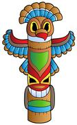 Tall Indian totem - stock illustration
