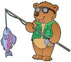 Cartoon bear fisherman Stock Illustration