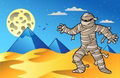 Night scene with mummy and pyramids Stock Illustration