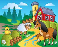 Country scene with red barn  Stock Illustration