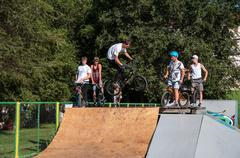 fans of bike trial - stock photo
