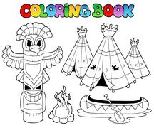 Coloring book with totem Stock Illustration