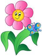 Sarjakuva kukka perhonen Piirros