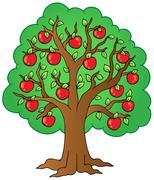 Cartoon apple tree Stock Illustration