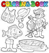 Coloring book with fishing gear Stock Illustration