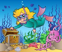 Girl snorkel diver exploring sea Stock Illustration