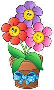 Pot with three cartoon flowers Stock Illustration