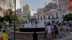 Fountain at Senado square Stock Footage