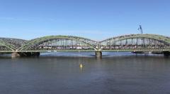 Railway bridge across the river and train Stock Footage