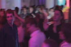 Crowd enjoying party in nightclub, people on the dance floor, click for HD - stock footage