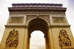 Arc de Triomphe with White Background Stock Photos