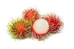 Rambutan fruit with red shell on white background Kuvituskuvat