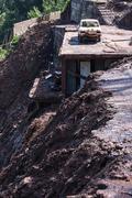 Madeira landslide - stock photo