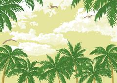 Tropical landscape, palms, seagulls and sky Piirros