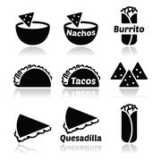 Mexican food icons - tacos, nachos, burrito, quesadilla Stock Illustration