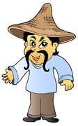 Asian tradesman in hat Stock Illustration