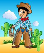 Cartoon cowboy in desert Stock Illustration