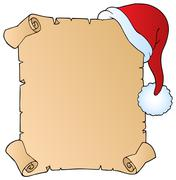 Letter with Christmas hat  Stock Illustration