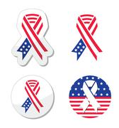 USA ribbon flag - symbol of patriotism, the victims and heros 9/11 attacks Stock Illustration