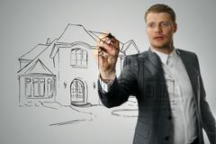 architect drawing house development sketch - stock illustration