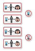 People drinking alcohol - sad and happy face icons set - stock illustration