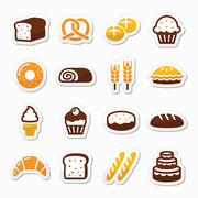 Bakery, pastry icons set - bread, donut, cake, cupcake - stock illustration