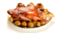 Roast Duck with Potatoes, Apples and Cranberries Pull Focus Stock Footage