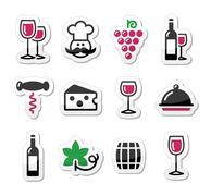 Wine labels set - glass, bottle, restaurant, food - stock illustration