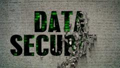 Data Security Binary Code Crumbling Wall Stock Footage