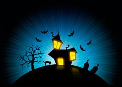 Halloween nightmare world background Stock Illustration