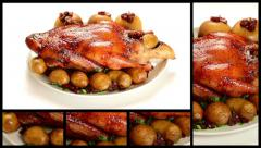 Roast Duck with Potatoes, Apples and Cranberries Montage Stock Footage
