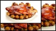 Stock Video Footage of Roast Duck with Potatoes, Apples and Cranberries Montage