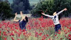 vintage poppy family emotion. mother and dougther enjoy spring time - stock footage