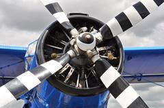 Vintage propeller plane - stock photo