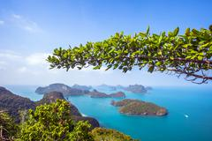 A Beach of Angthong Marine National Park. View from mountain on Stock Photos