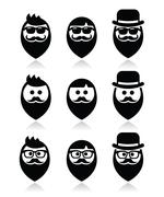 Stock Illustration of Man with beard with moustache or mustache, hipster icons set