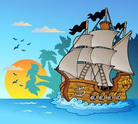 Stock Illustration of Old vessel with island silhouette