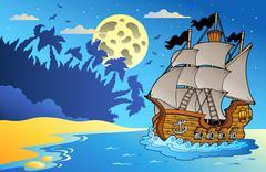 Stock Illustration of Old vessel at night near beach