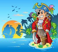 Noble corsair standing on island - stock illustration