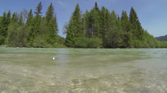 Close up from river Isar in Bavaria. Stock Footage