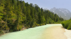 River Isar in Bavaria with hills and mountains Stock Footage