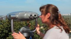 Woman Watching In Binocular Closeup Panorama Stock Footage